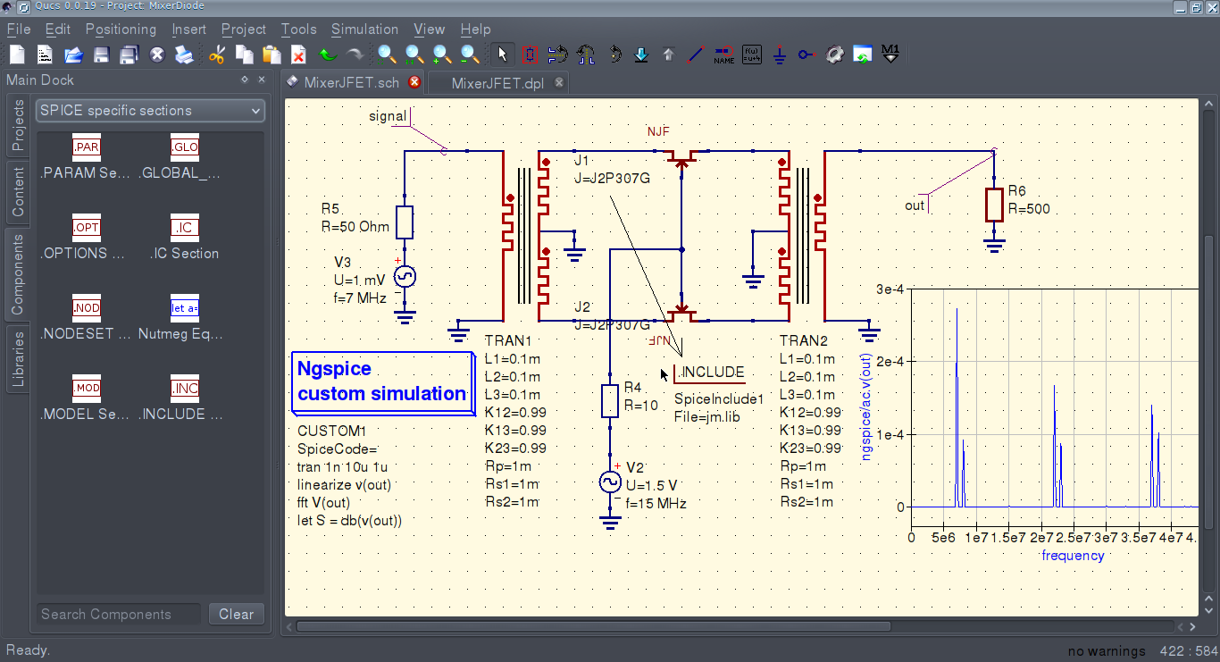 Qucs S With Spice Circuitsimulationsoftware Jfet Mixer